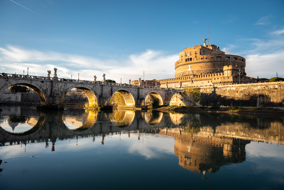 View of Castel San't Angelo and bridge in Rome