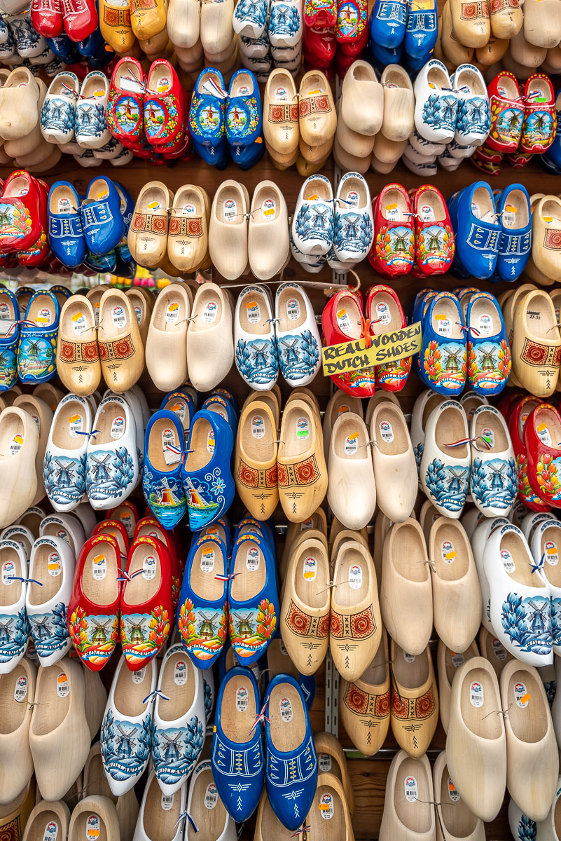 Pretty and colourful traditional Dutch wooden clogs in a market in Amsterdam