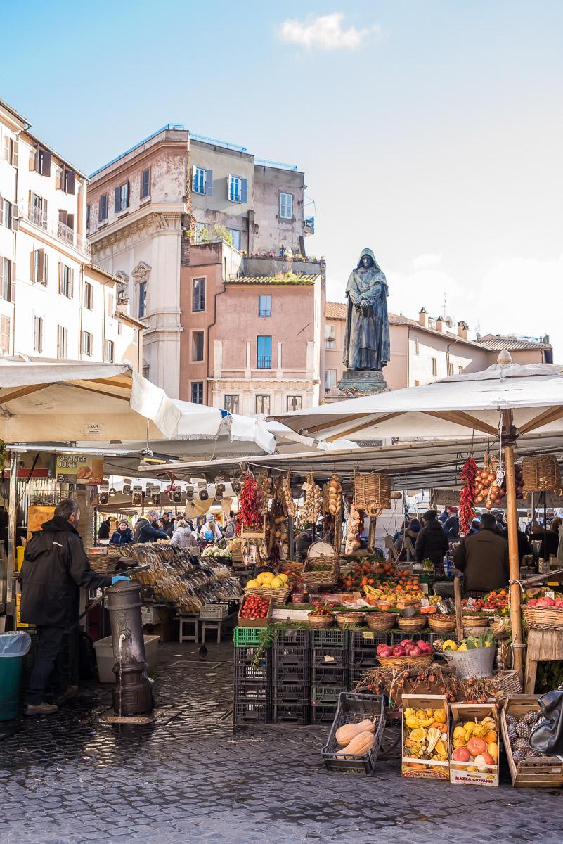 View of Campo De Fiori food market in Rome