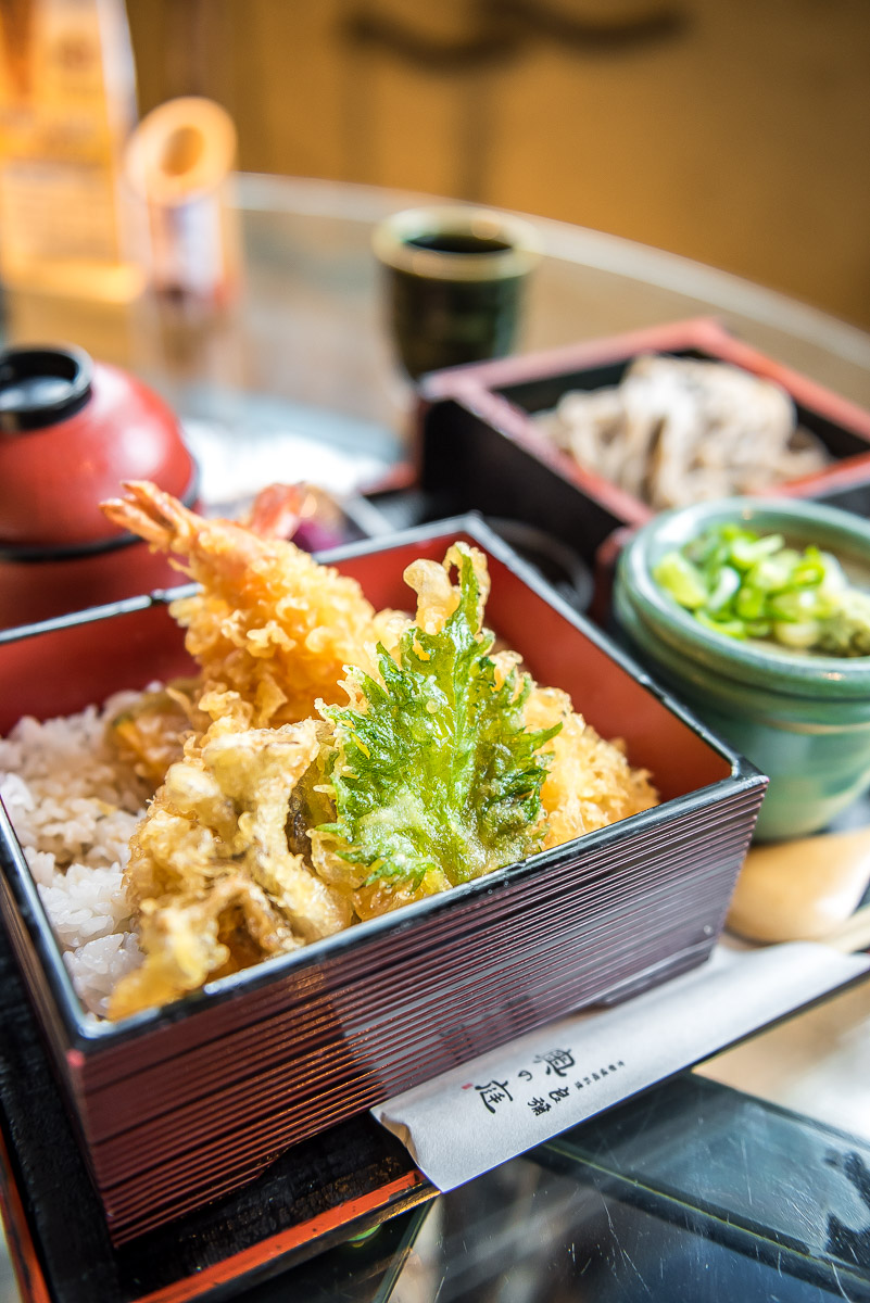 Traditional Japanese lunch with vegetable tempura