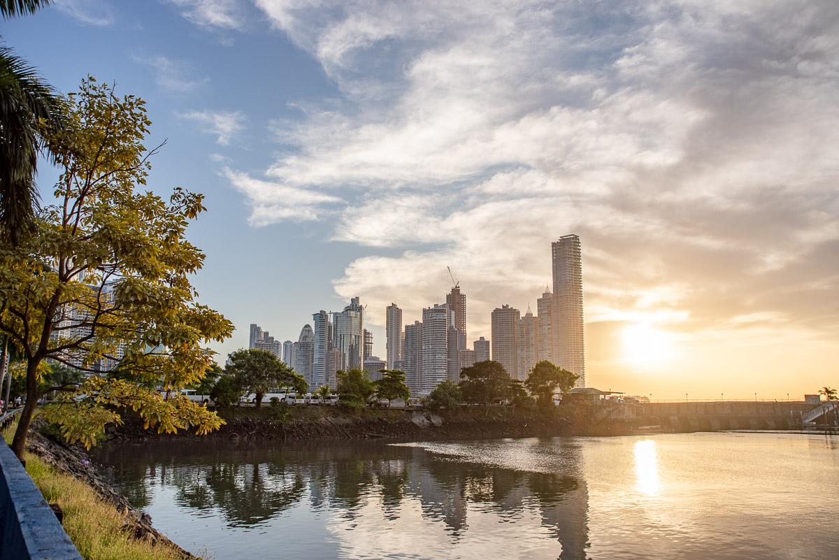 Skyline of Panama city at sunrise