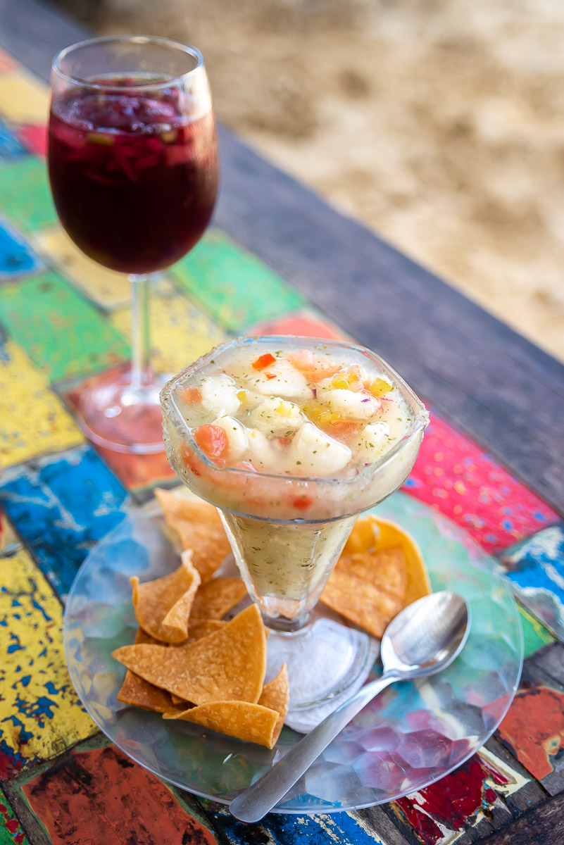 Ceviche and sangria at the beach