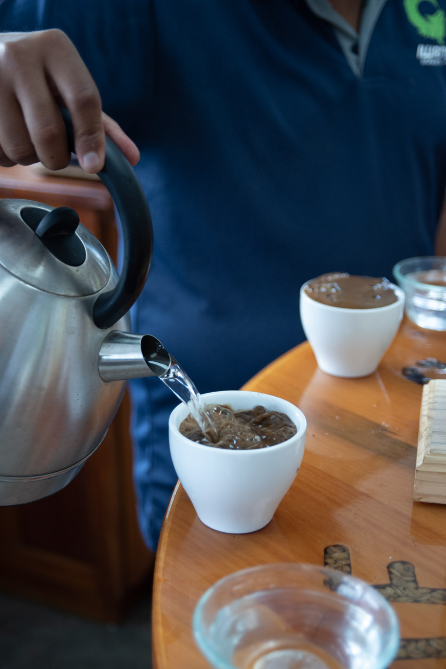 pouring hot water in a cup to brew coffee