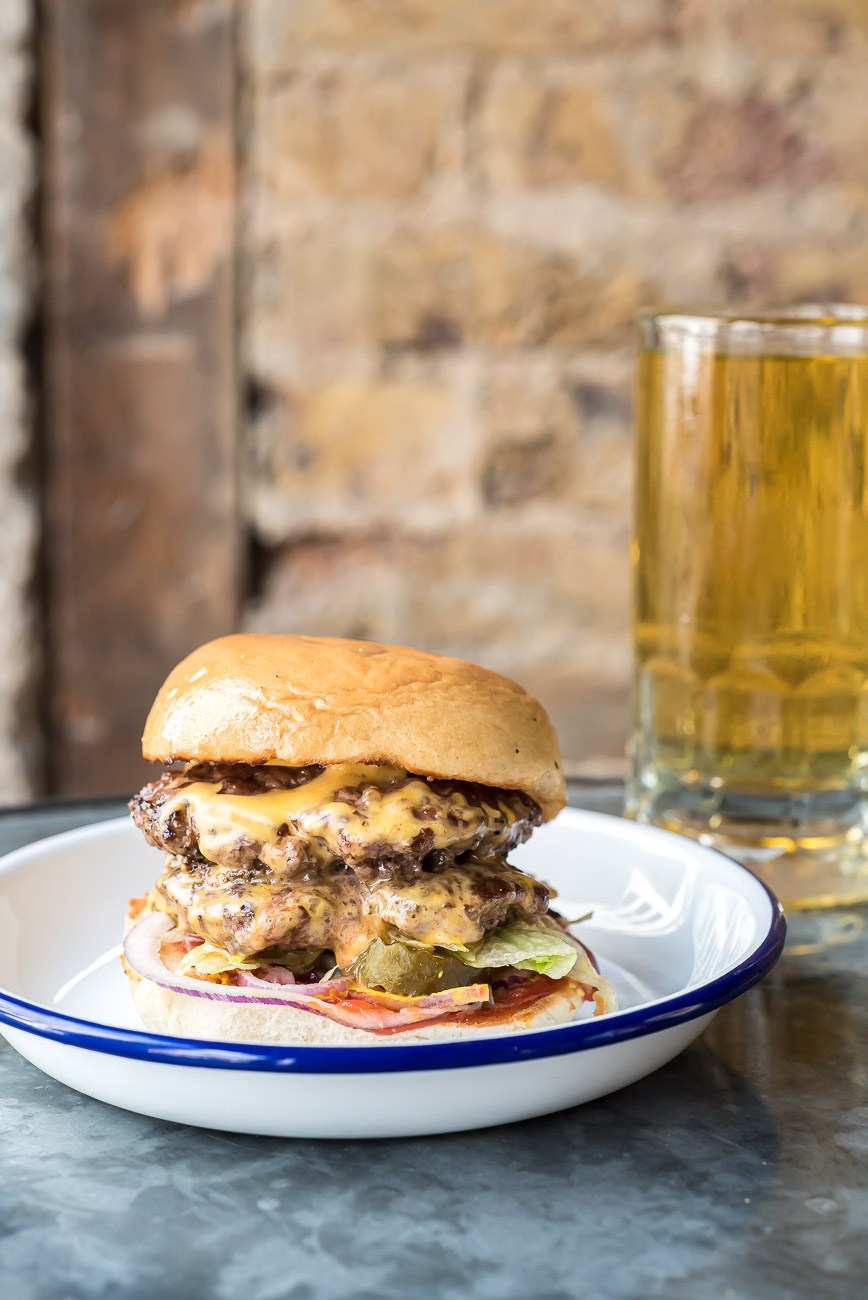 Burger and beer on a plate
