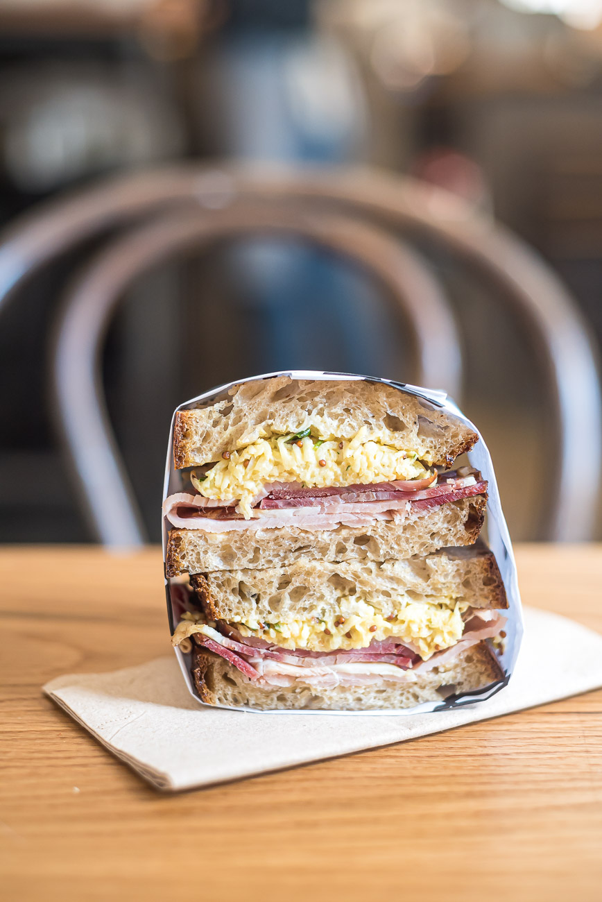 Ham and egg sandwich stack