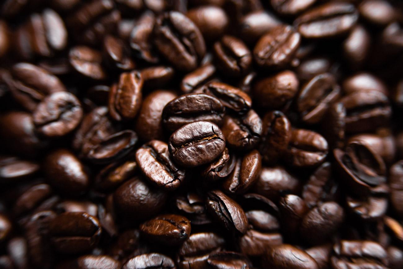 Macro shot of dark roasted coffee beans