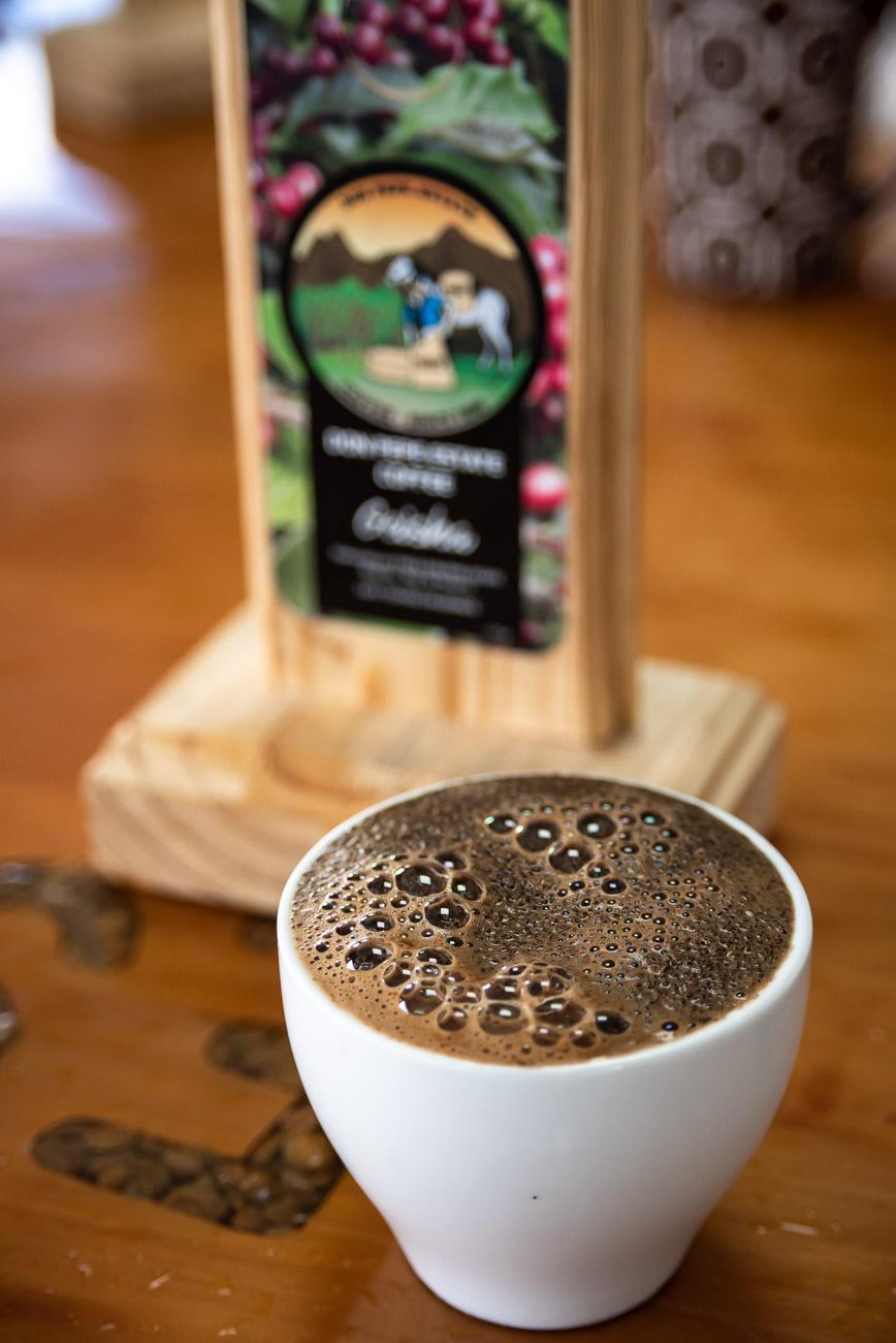 cup of freshly brewed dark coffee