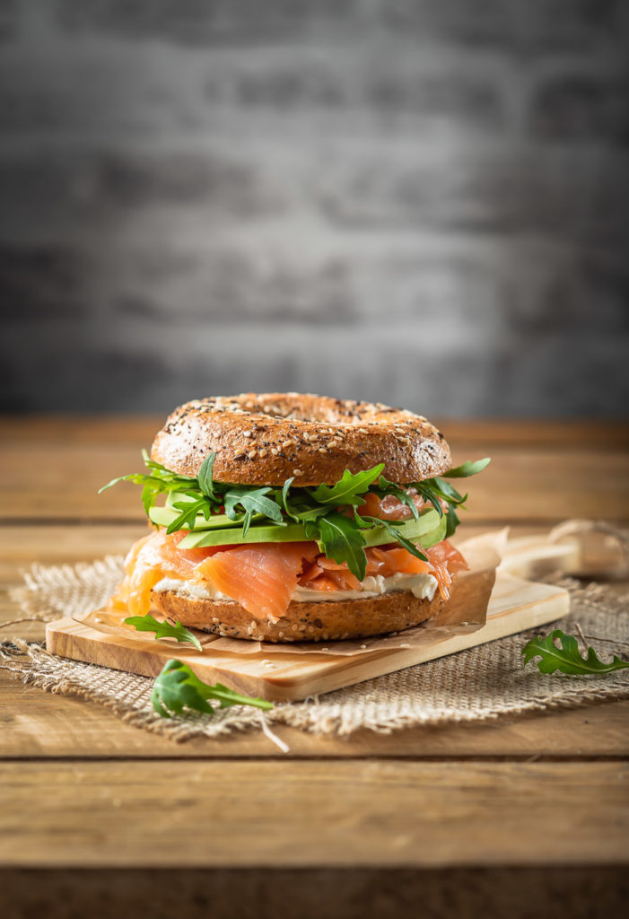 Bagel with salmon and rocket