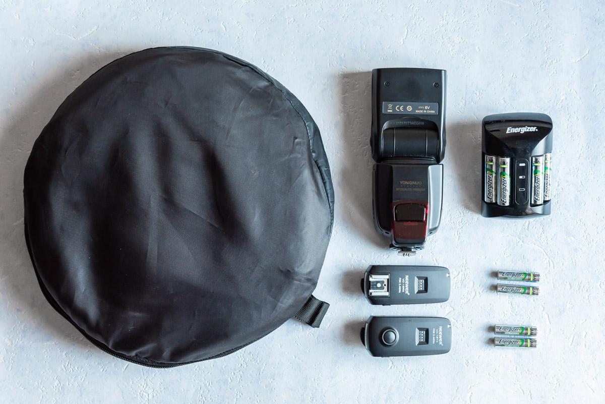 Speedlite kit with foldable reflector, speedlite, rechargable batteries and remote triggers
