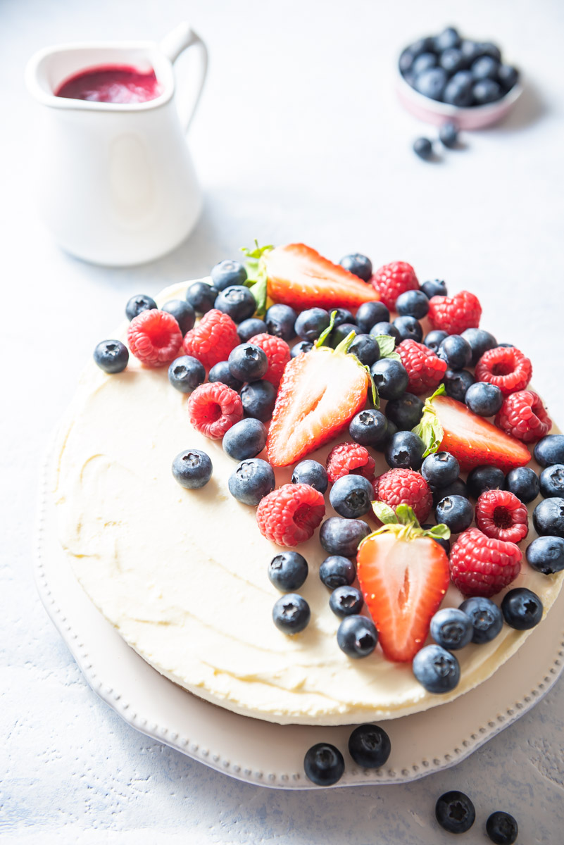 Overexposed image of the berry cheesecake
