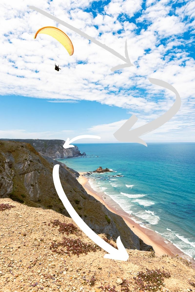 Example of leading lines in travel photography, skydiver over a cliff