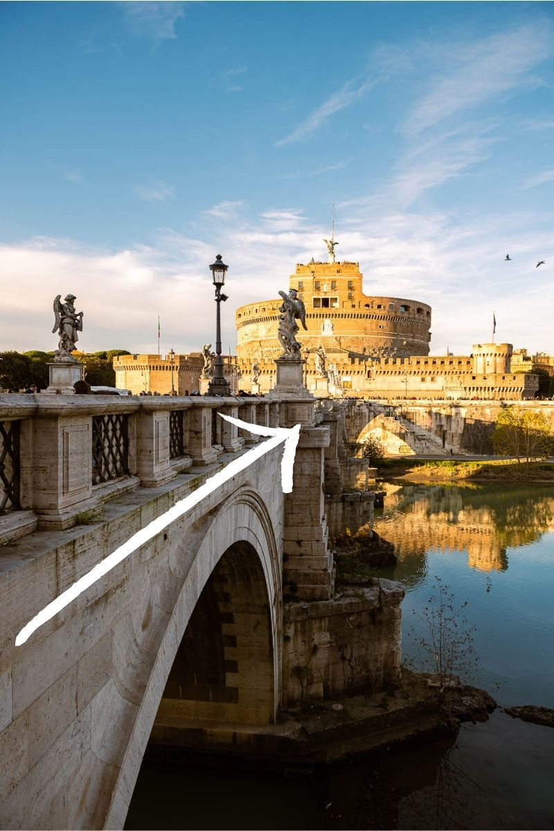 Example of leading lines in travel photography, Castel Sant' Angelo in Rome
