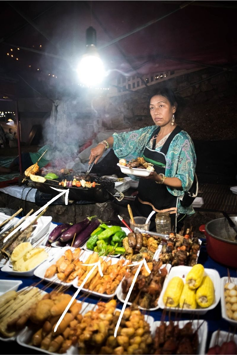 Example of leading lines in travel photography, street food vendor