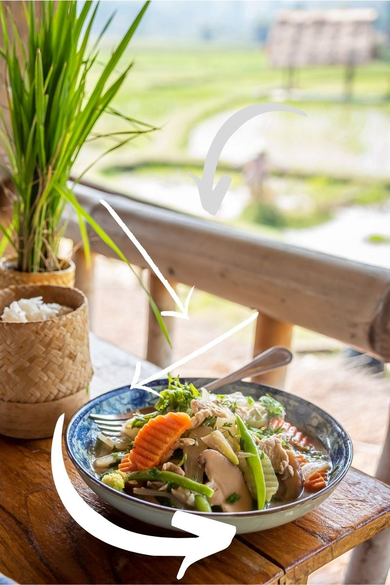 Example of leading lines in travel photography, colourful vegetables in an Asian restaurant