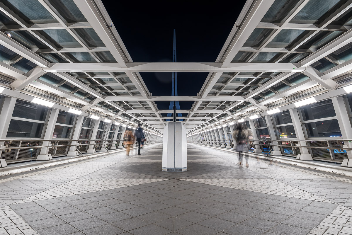 Example of leading lines in travel photography, modern architecture tunnel