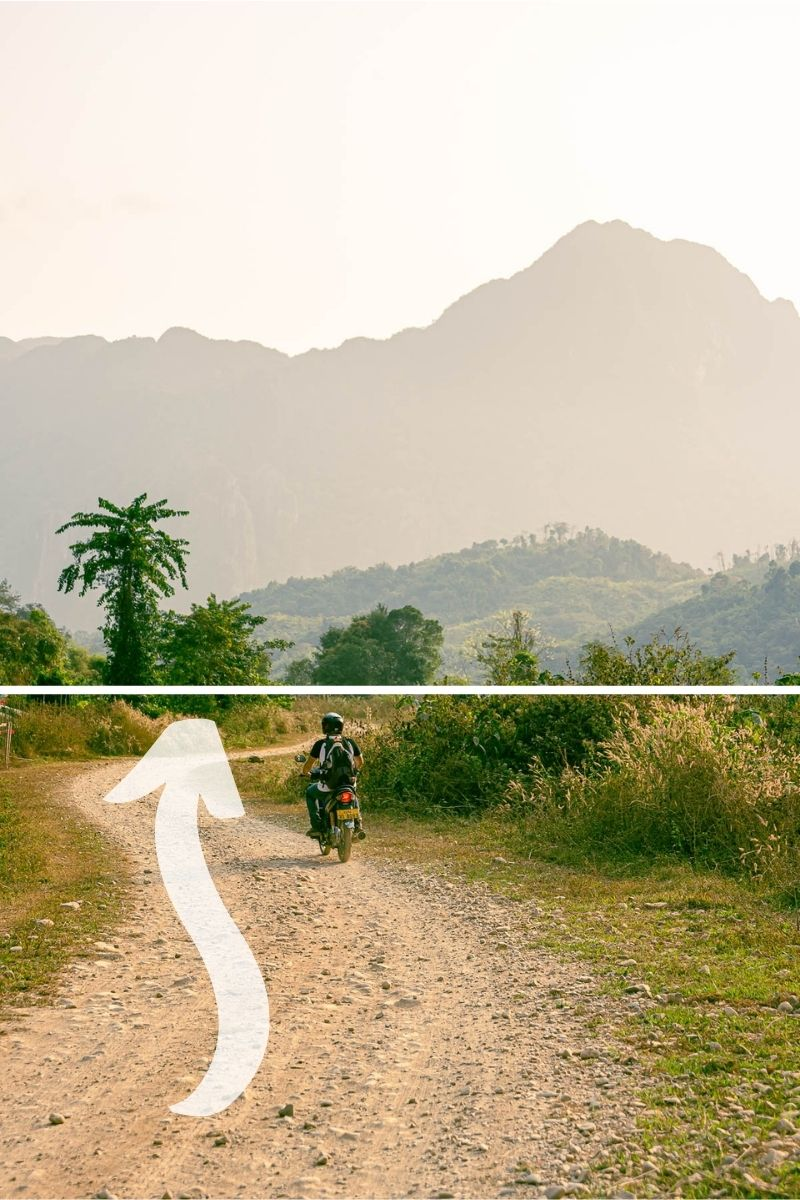 Example of leading lines in travel photography, rider on a dirt road
